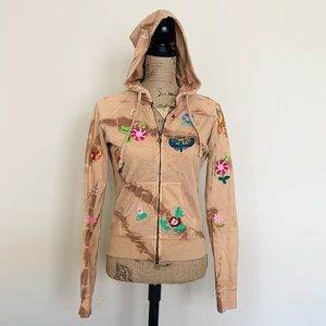 Anama floral  butterfly embroidered tie dye hoodie